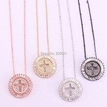 6 pçs moda jóias em forma redonda micro pave cristal cz cruz pingente colar feminino e masculino jóias