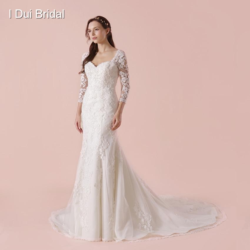 Liyuke lustrous satén o cuello rebordeado Appliques vestido de novia ...