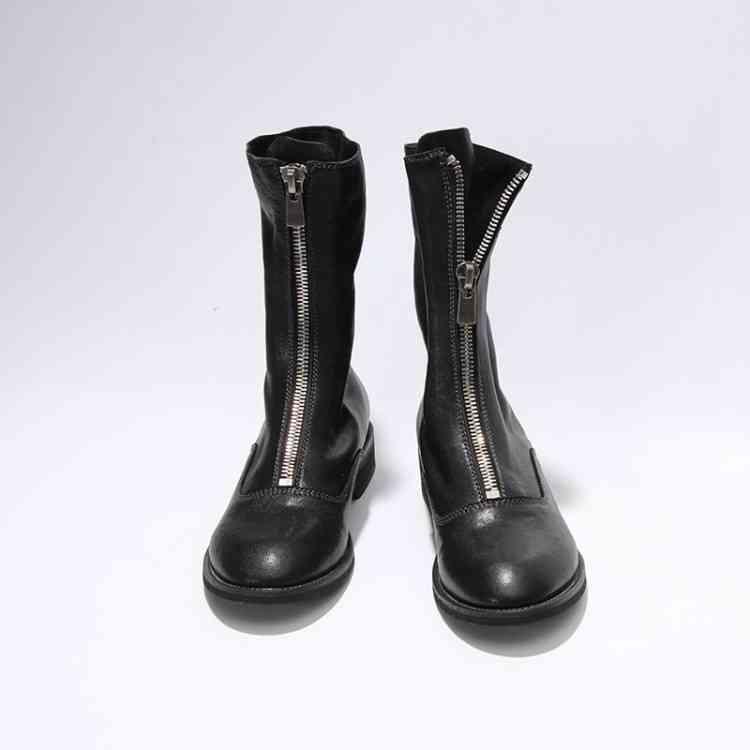 Krazing Pot echt leer winter schoenen knappe motorlaarzen rits decoratie runway vrouwen houden warm mid kalf laarzen L18-in Driekwart Laarsjes van Schoenen op  Groep 3