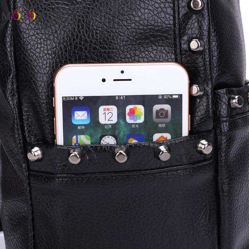 Classic Rivets Women Mini Backpacks Pu Leather Street Casual Girls Shoulder Zipper School Backpacks Mochila Feminina #5
