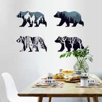 4 Oso polar decoración del hogar adesivo de parede Art calcomanías 3D DIY papel pintado decoración para habitaciones de niños pegatinas de pared