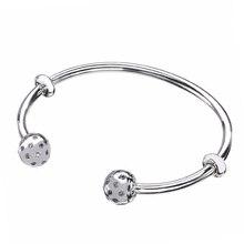 Ajax 100% 925 Sterling Silver Crystal Open Pandora Bracelet Fit Women Bead Charm DIY Jewelry