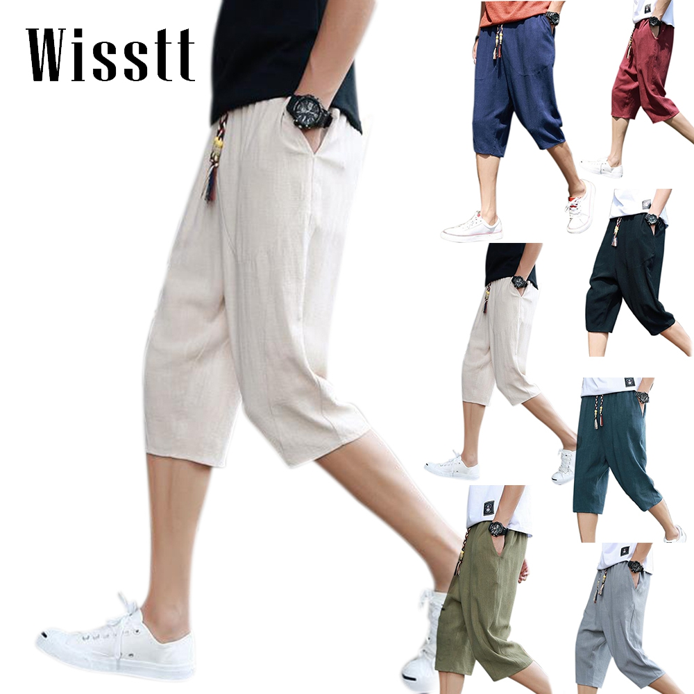 Mens Linen Shorts Men Plus Size Summer Fashion Bermuda Beach Casual Drop Crotch Harem Man Compression Short ...