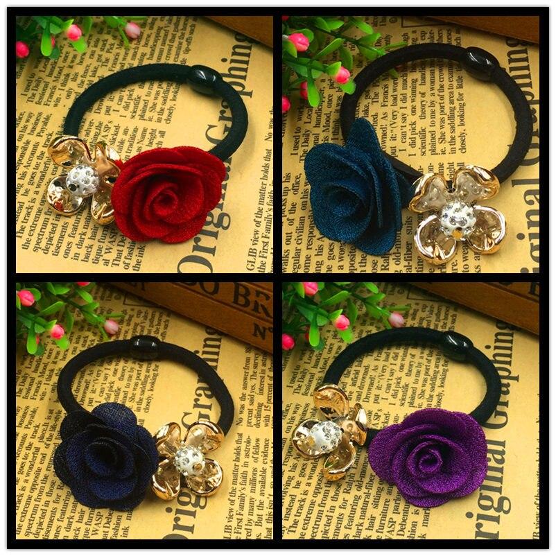 5PCS/LOT Gold Plated Crystal Rose Flower Hair Holders Rubber Bands Gum Black Elastic Tie Headwear Women Girl Hair Accessories