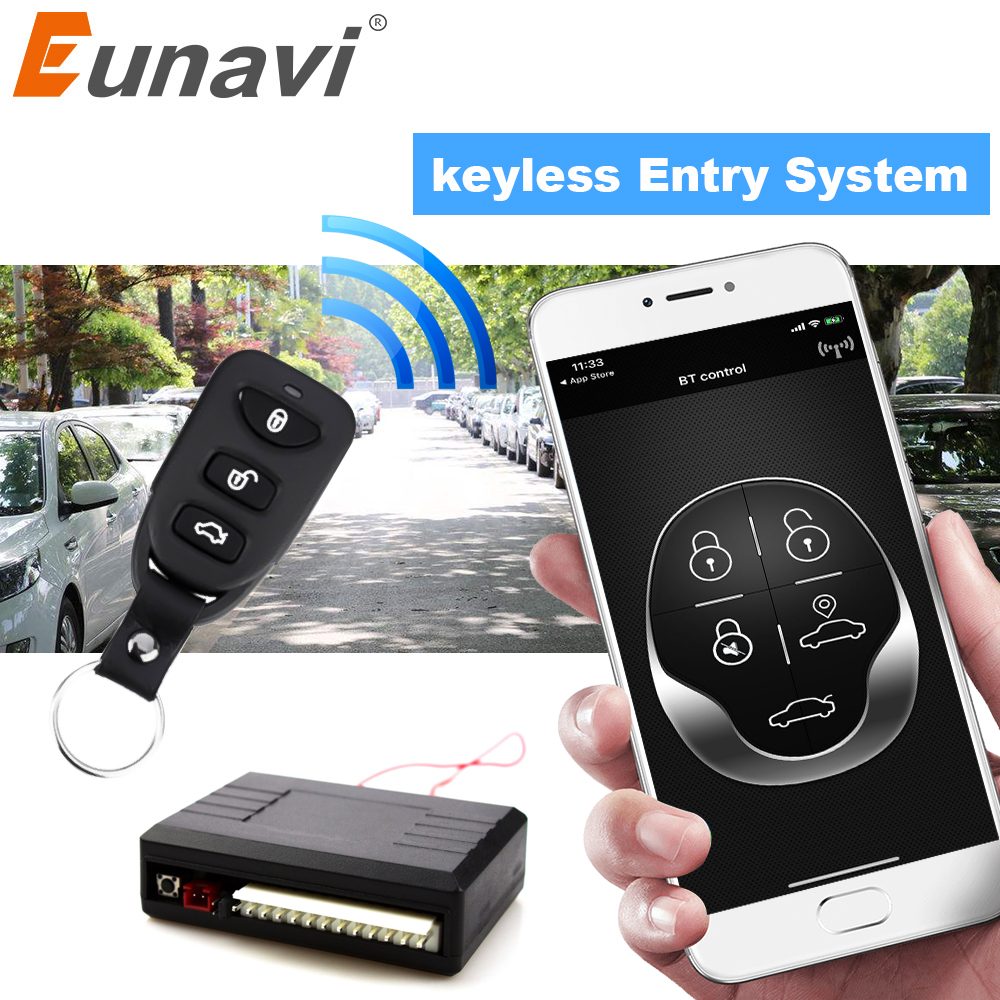 Eunavi Universal Car Alarm Systems Auto Remote Central Kit Door Lock Keyless Entry System Central Locking With Remote Control image