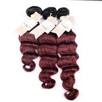 CHOCOLATE Remy Human Hair Bundles 100% Unprocessed 2 pieces Hair Extensions Loose Wave Ombre 2 Tone Color TB/99J(Black/Burgundy)