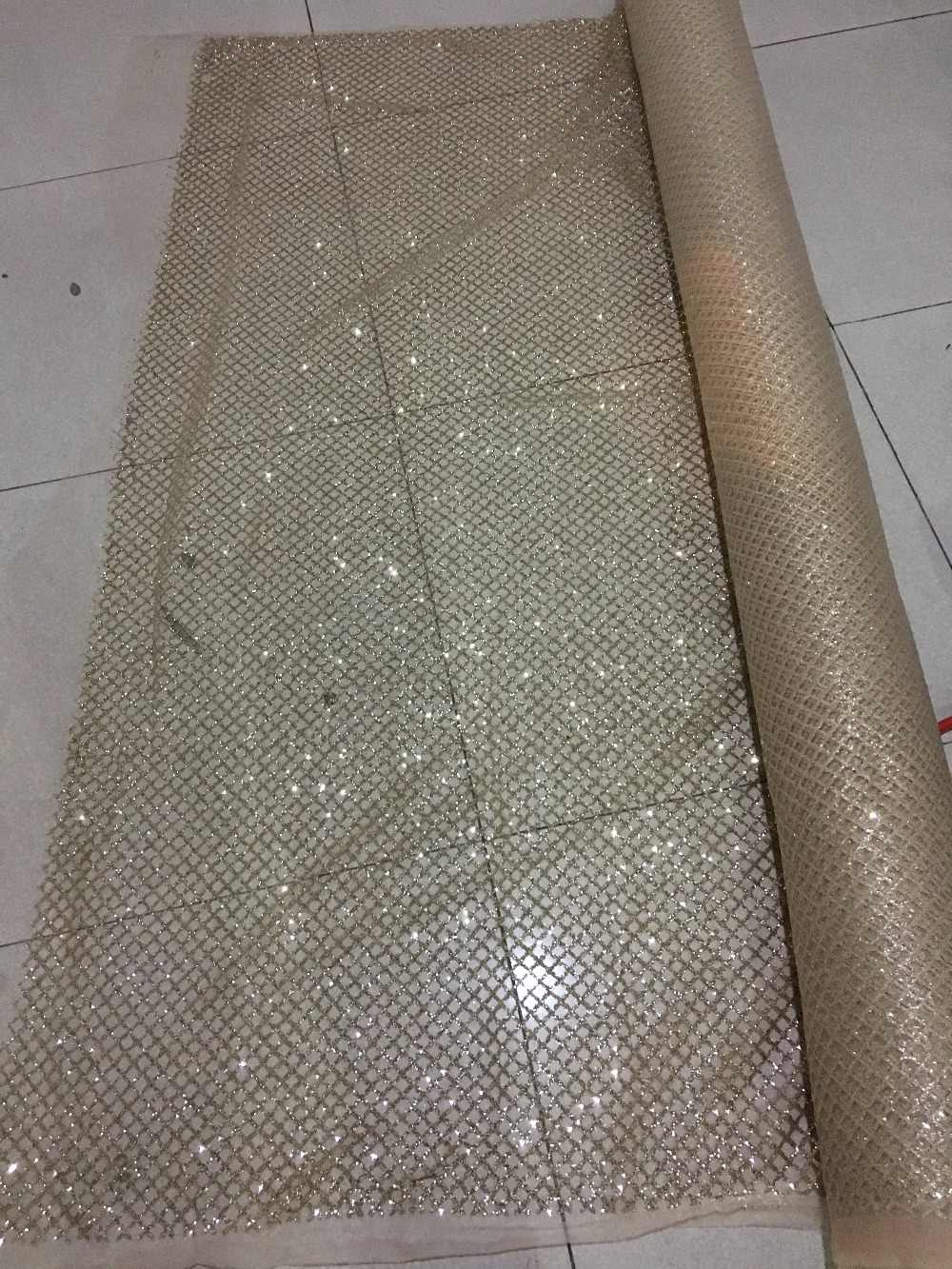 nice luxury glued gold glitter embroidery tulle mesh lace fabric JRB-52408  with beads for 31a7df5172ec
