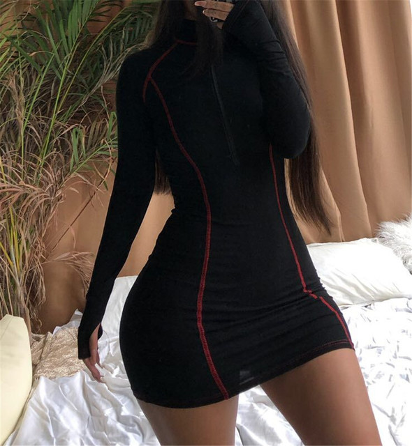 Long sleeve bodycon dress for Women With Zipper Casual cotton Mini Vestidos Womens Clothing Out-going Dresses 1