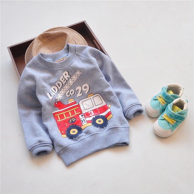 Осенняя Одежда для мальчиков детские толстые кофты Детские автомобиля повседневные толстовки детей бархатные толстые Топы
