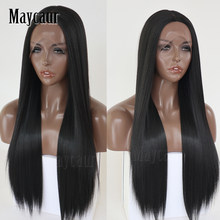 Maycaur Hair Long Straight Hair Lace Wigs Black Color Glueless Heat Resistant Synthetic Lace Front Wigs for Black Women(China)