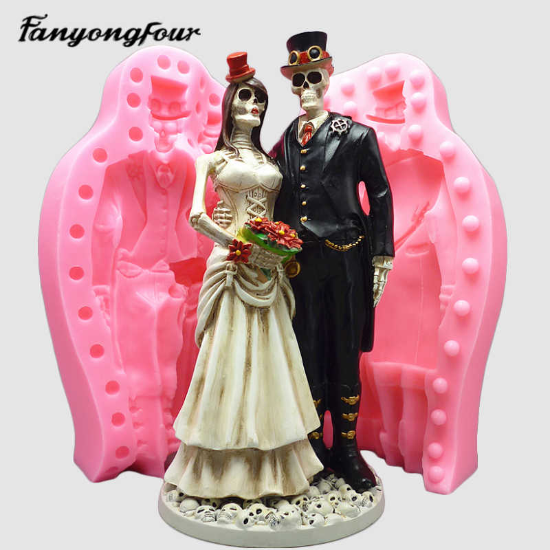 Soap Mold Skull bride/&groom Chocolate Flower Ornament Candle Soap Moulds Polymer Clay Jewelry Soap Making Mold Melting Wax Resin