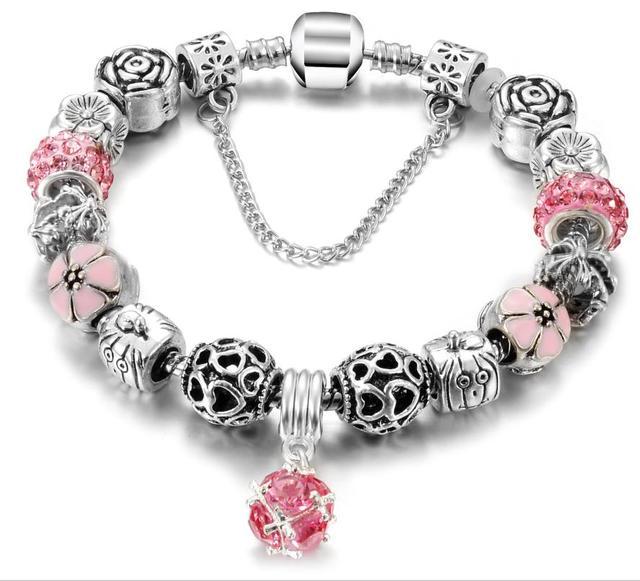 2017 Fashion Silver Plated Bracelets Bangles Crystal Murano Beads Charm Bracelets For Women DIY Vintage Bead P Bracelets