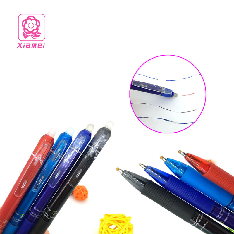 Xiamei Stationery 12pcs Pressing Erasable Gel Pen 0.6mm Red Blue Ink Blue Black Erasable Pens for Chancery and School Supplies fine tech gel pen 12 pack black ink