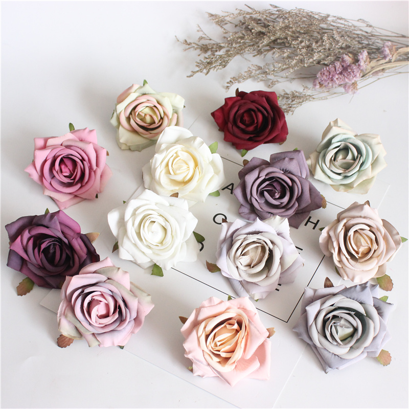 1pcs 7.0cm Silk Rose Artificial Flower Wedding Home Furnishings DIY Wreath Sheets Handicrafts Simulation Cheap Fake Flowers