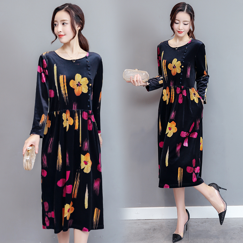 new high-end leisure velvet dress long sleeve casual print floral loose dress o neck wnter vestidos korean fashion outfit ...