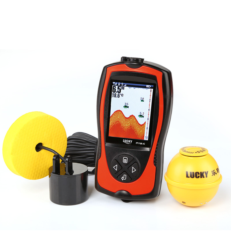 Lucky FF1108-1CLA Cable / Wireless Fish Finder Sonar Sensor Alarm Portable Fish Locator With Flashlight Detector Fishing Tools lucky ff1108 1c portable 2 in 1 wireless