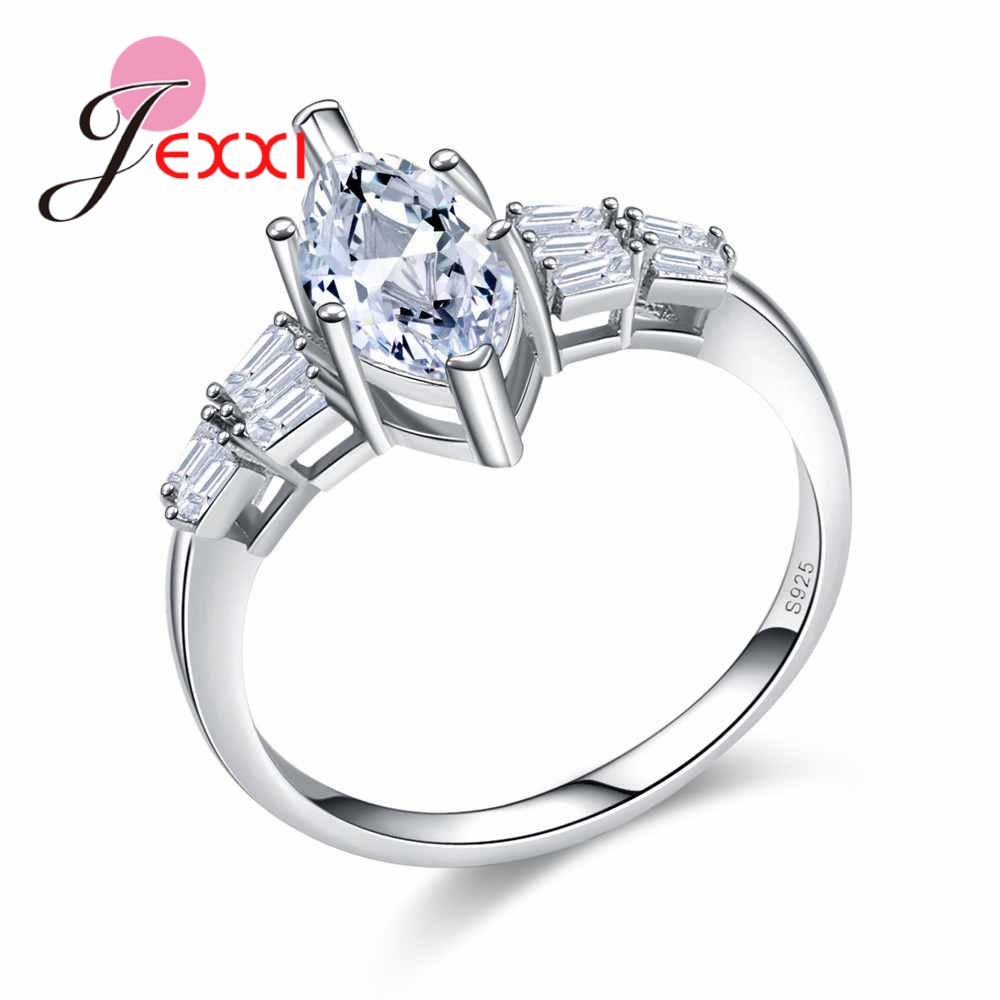 JEXXI Full Rhinestone High Quality 925 Stamp Sterling Silver Women Ladies Finger Rings Fashion Wedding Jewelry Fast Shipping