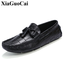 Genuine Leather Moccasin-gommino Shoes Men Slip-on Flats Casual Shoes Fashion England Black Soft Non-slip Driving Shoes H484 35