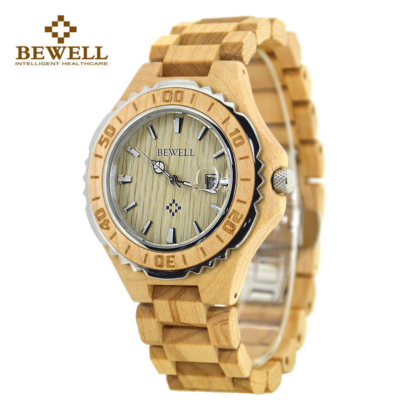BEWELL W100BG Mens Unique Maple Zebra Wooden Watches Round Dial Casual Quartz Wrist Watches With Wood Links In Gift Watch Box