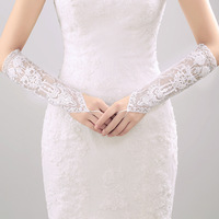 New Popular Bridal Elbow Fingerless Wedding Beige Lace Mesh Gloves Wedding Accessories Bride