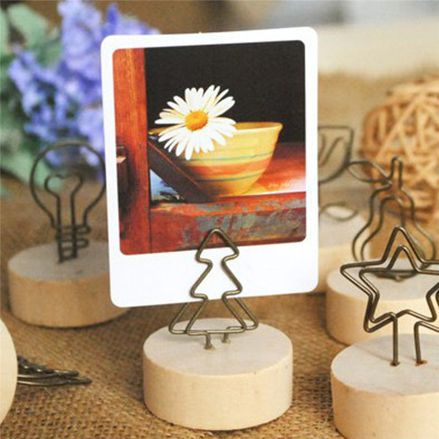 Round Shaped Wooden Photo Clip