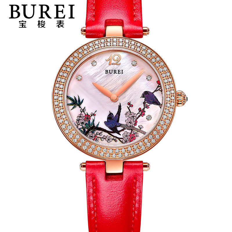 BUREI Elegant Ladies Sapphire Mirror Genuine Leather Band Quartz Watch Waterproof Women Wristwatches With Premiums Package 13007 style bird and pocket watch shape women s pendant necklace