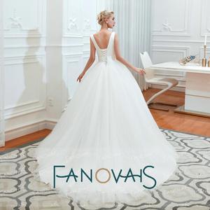 Image 3 - Fanovais Tulle V Neck Simple Elegant Ruffles Vintage Bridal Wedding Dresses Bridal Gowns Vestido de Novia robe de mariee