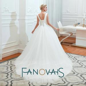Image 3 - Fanovais טול V צוואר פשוט אלגנטי ראפלס Vintage כלה שמלות כלה שמלות Vestido דה Novia robe דה mariee