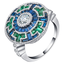 Luxury colorful Cubic zirconia finger ring large Women fashion blue green colors jewelry Big Luxury Rings for party Accessories