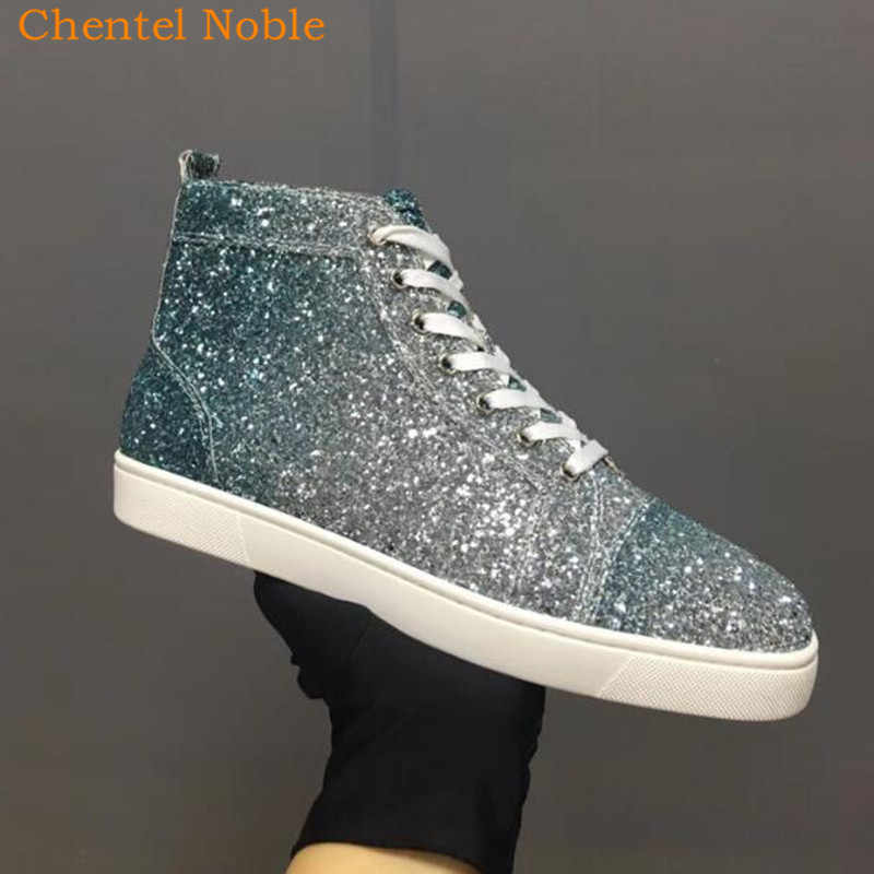 2018 Brand Luxury Chentel Noble New Sequined Bling Leisure Shoes Walking  Sneaker Outdoor Black Gold Colorful 586b2f63b297