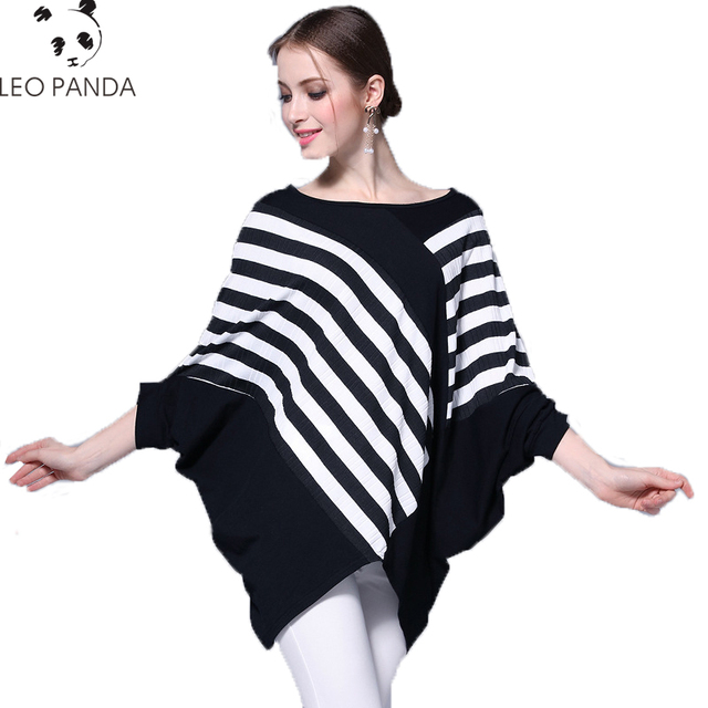 d93543511fd89e New Bat Sleeve Three Quarter Women's Fashion Black and White Stripe  Oversized Funky Cotton Tops for Ladies Sweater Female CY183