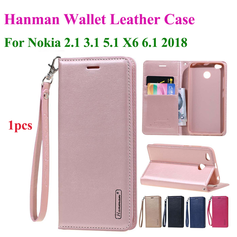 Hanman <font><b>Flip</b></font> <font><b>Leather</b></font> <font><b>Case</b></font> For <font><b>Nokia</b></font> 2.1 3.1 5.1 X5 X6 <font><b>6.1</b></font> 2018 Hang Rope Series Genuine Wallet Card Slot <font><b>Case</b></font> Cover image