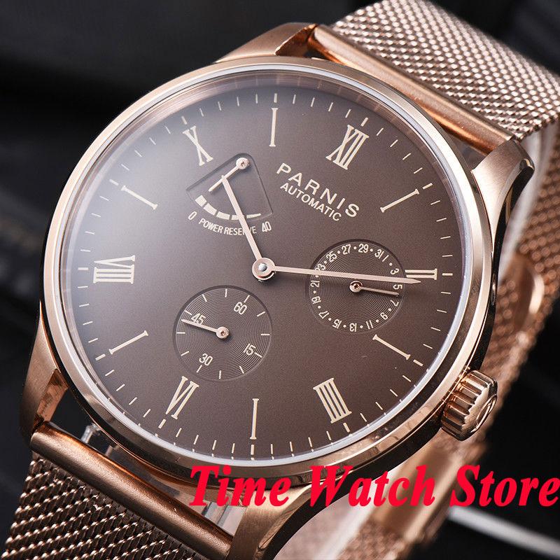 Parnis men's watch 42mm rose golden case Bracelet Power reserve coffee dial 5ATM ST1780 Automatic movement wrist watch men 943 цена и фото