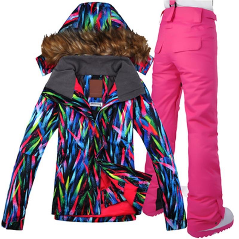 GSOU NEIGE combinaison de Ski Femmes Coupe-Vent Imperméable Veste Pantalon Super Chaud Ski Snowboard Manteau Pantalon Respirant Sport En Plein Air Porter