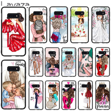 Lavaza Black Brown Hair Baby Mom Soft Case for Galaxy Note 8 9 S7 edge S8 S9 S10 Plus S10e M10 20 30 Cover