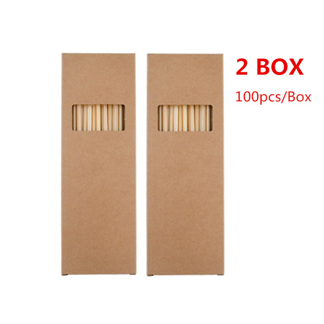 Eco-Friendly Biodegradable Wheat Drinking Straw 200 Pcs Set