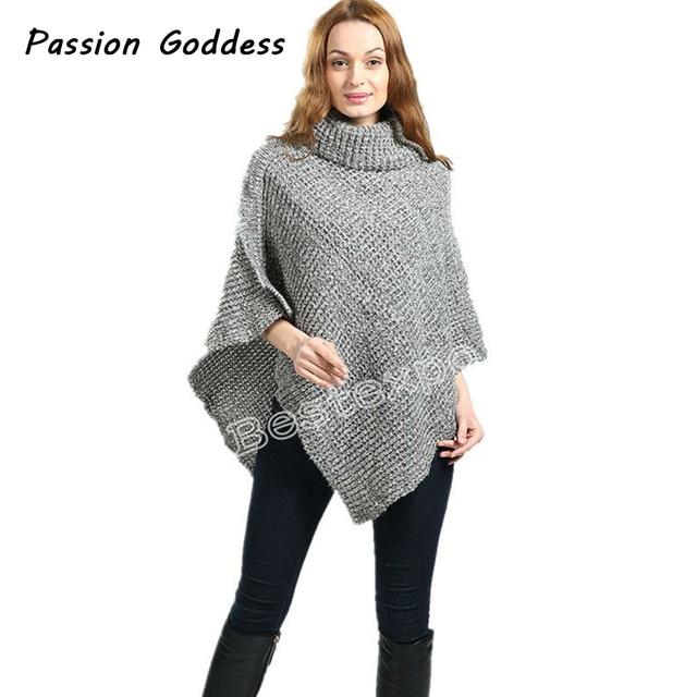 Top Fashion Women Knitted Sweater Cloak Irregular Shaw Batwing Ponchos  YT14