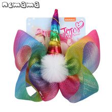 ncmama Hair Accessories 8 Large JO Bow for Girls Clips with Cute Unicorn Rainbow Yarn Ribbons Pompom Kids Headwear