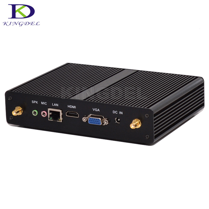 Kingdel Newest Fanless Mini PC with Haswell Intel Celeron 3205U 3215u Processor Barebone Desktop Computer Small Size dc 12v desktop pc win 7 win 8 win 10 linux kingdel mini industrial pc with celeron 1037u processor x86 mini pc dual lan