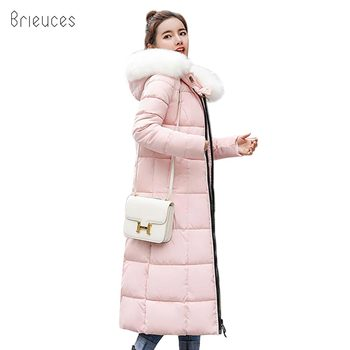 Brieuces Plus size 3XL fur hooded winter jacket women solid padded X-long parka warm thicken womens coat high quality female