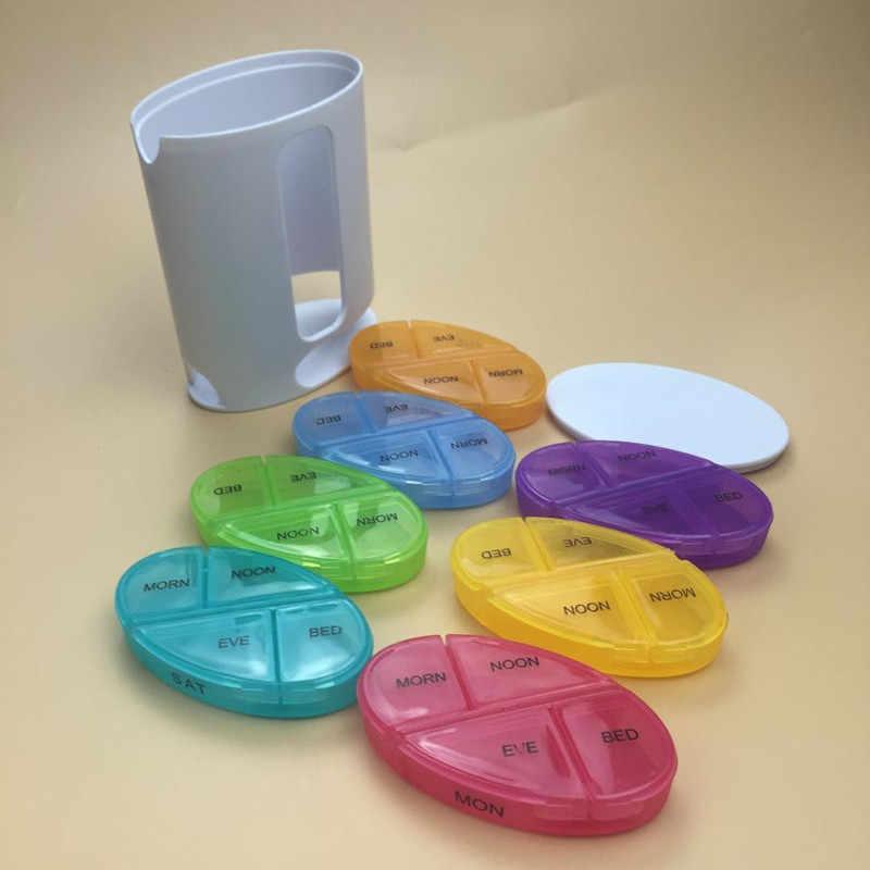 毎週ピルボックスタブレット 7 日プラスチック製の収納容器のための分周器ディスペンサーホルダー薬ミニ薬グレー健康ケア装置