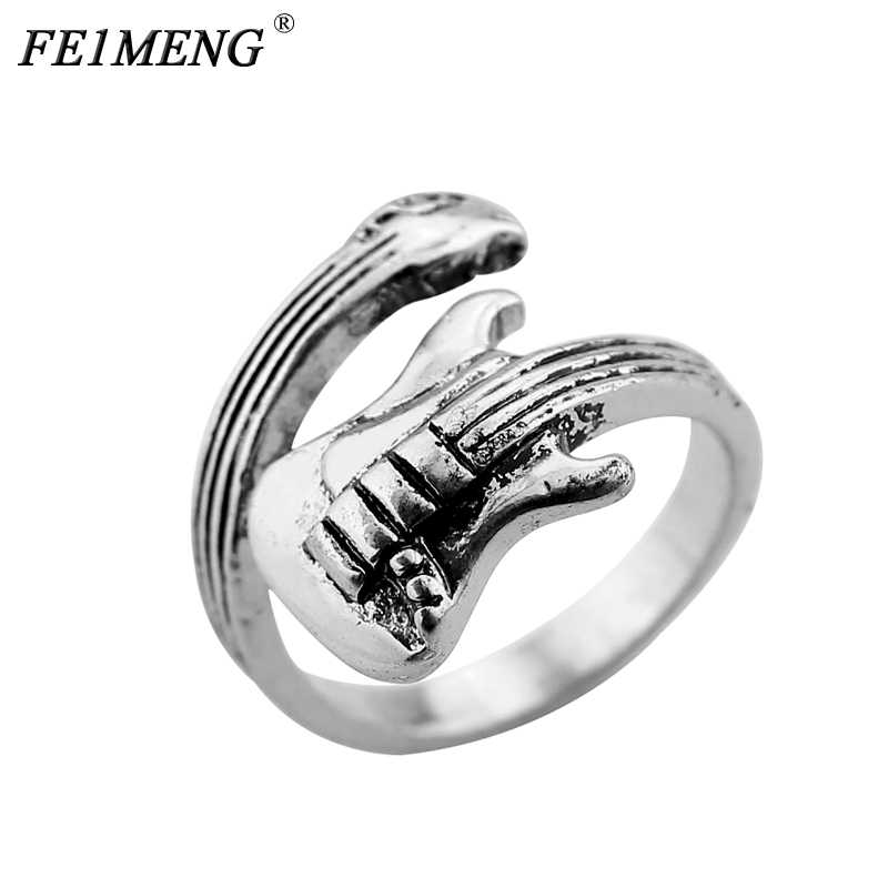 Music lover Punk Rock Guitar Ring Fashion Musical Instruments Ring For Youth Men Women Personality Accessories