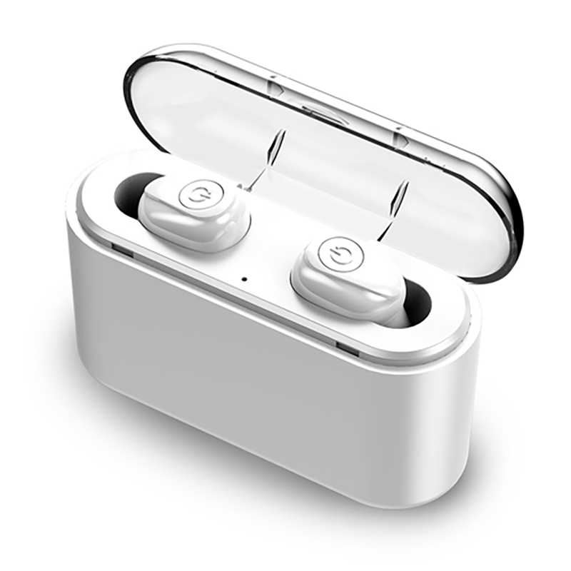 TWS Bluetooth Earphone 5.0 Invisible Mini Wireless Headphone Bass Earbuds Headset with 2200 mAh Charging Box Power Bank
