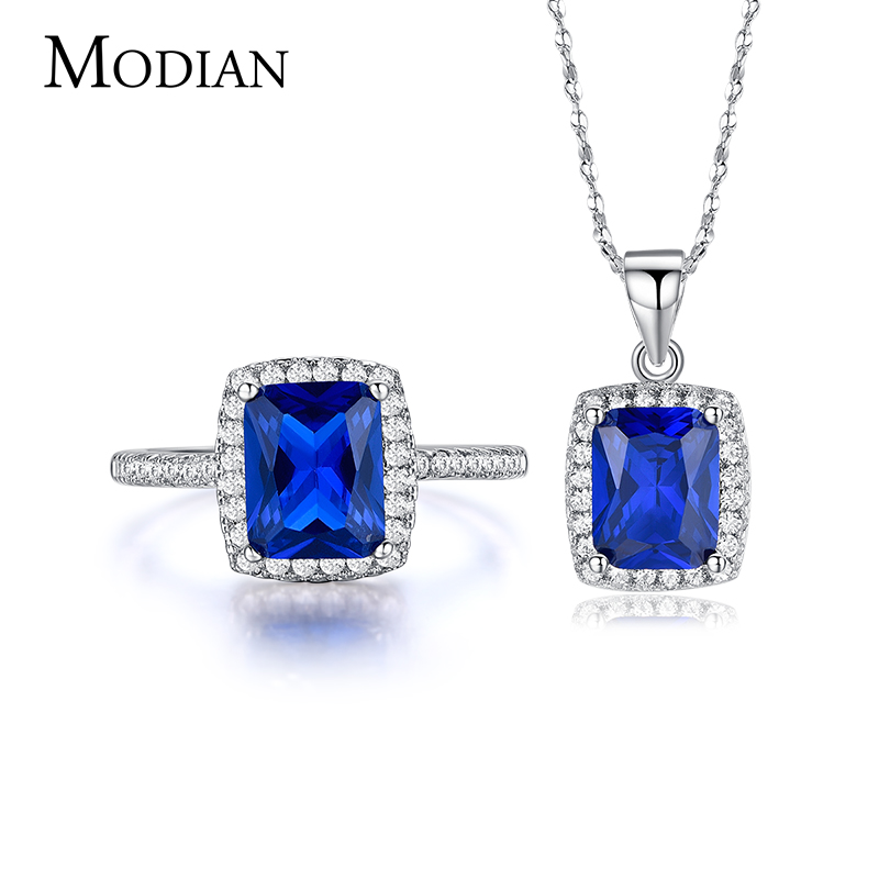 R&J 5 Color New fashion Blue 5A Zircon 925 Sterling Silver Jewelry Set Necklace/Pendant/ Ring for women wedding engagement setsR&J 5 Color New fashion Blue 5A Zircon 925 Sterling Silver Jewelry Set Necklace/Pendant/ Ring for women wedding engagement sets