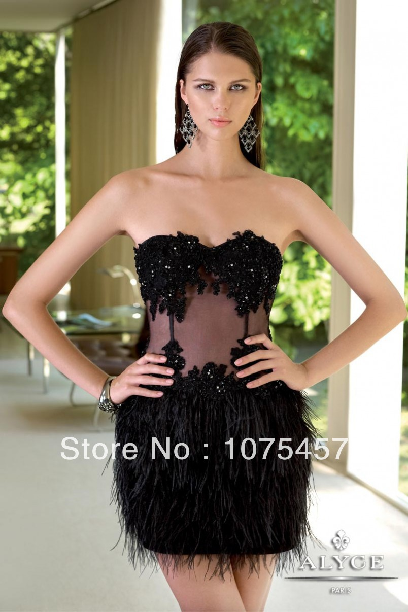 d94426b7d6baf Black Feather Cocktail Dresses See Through Appliques with Beading ...