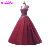 2018 Blue Ball Gown dress girl cheap Quinceanera Dress With Jacket Beads Corset Fitted Fare 16 Sweet Girls Party Wear