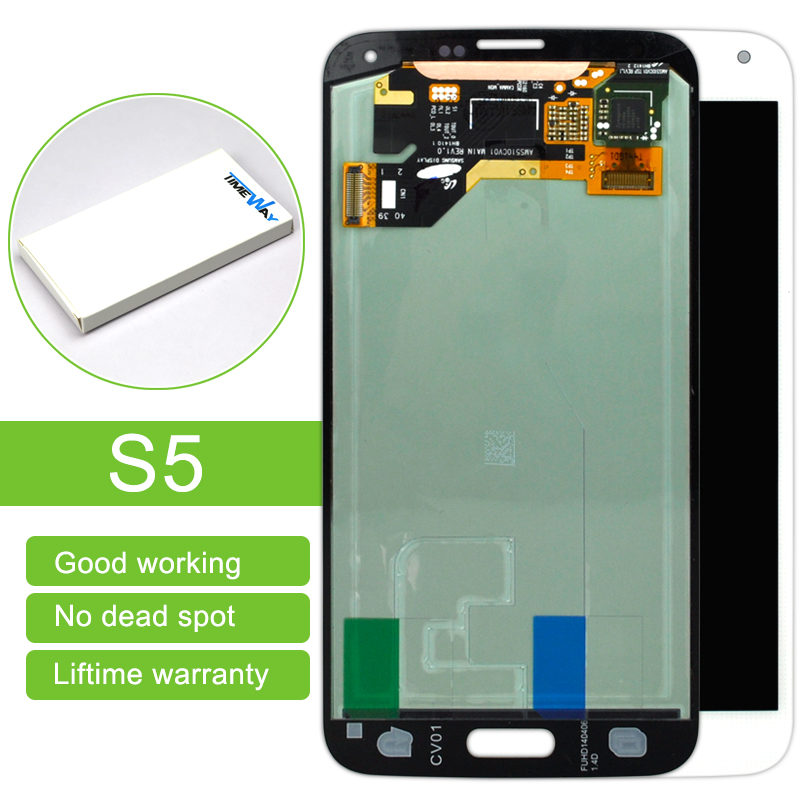 DHL 10 pcs 1 year Warranty Black White Gold LCD Screen Replacement+Digitizer Touch Display assembly For Samsung S5 i9600 G9008V