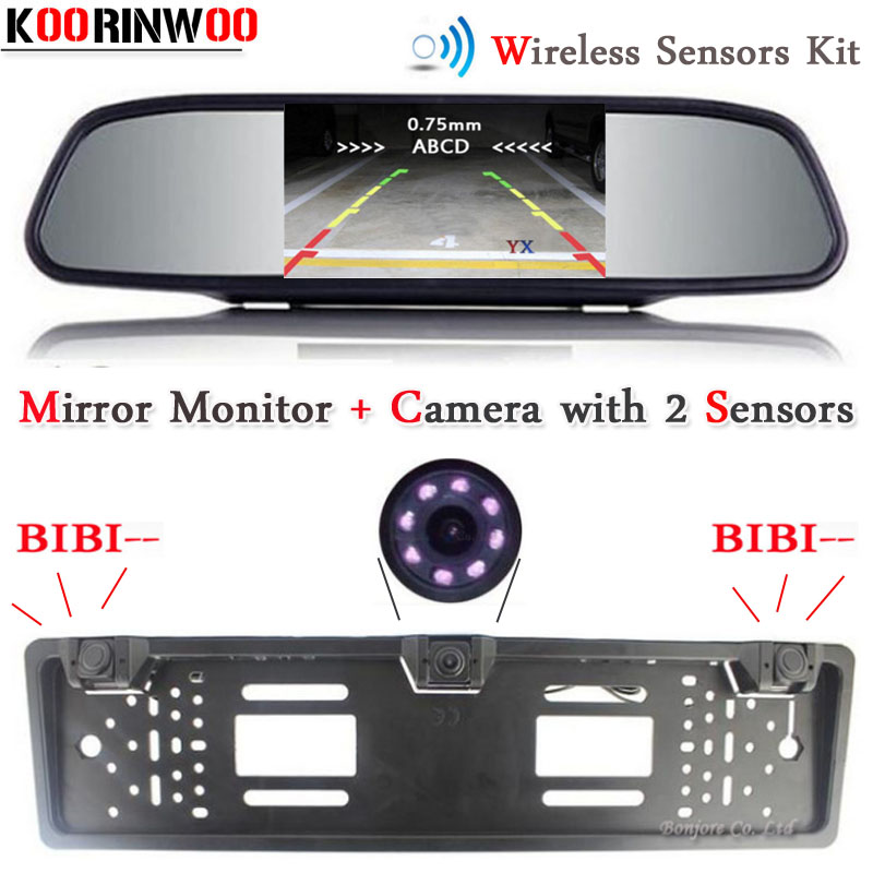 Koorinwoo Wireless Parktronic European Car License Plate Frame Rear view camera Front Camera Car parking Sensor Car Monitor TFT 1 european license plate frame 1 car rear view camera 2 parking sensor automobiles number plate frame for license plate