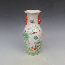Elaborate  Chinese Famille Rose Porcelain Vase , Printed With Beautiful Mandarin Duck and Lotus