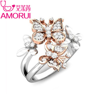 AMORUI Cute Rose Gold Butterfly Silver Ring Jewelry Silver CZ Birthday Stone Wedding Rings for Women Party Gift Dropshipping